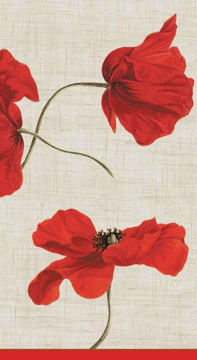 Caspari Dancing Poppies Guest Towel Napkins, Set of 2