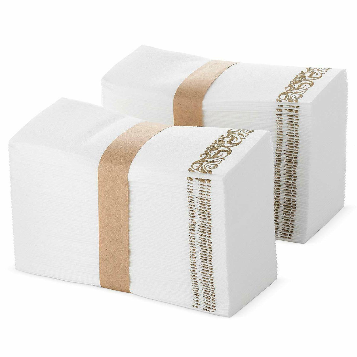 White and Gold Disposable Hand Towels & Decorative Bathroom