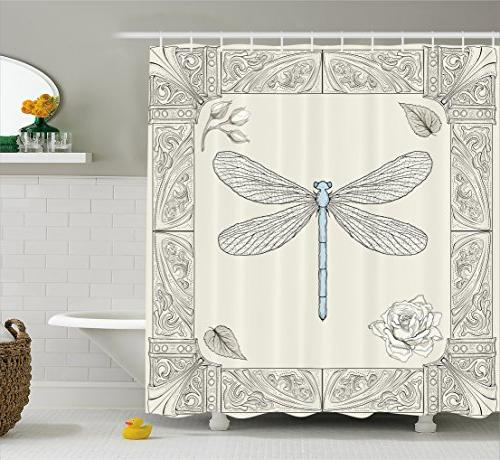 dragonfly shower curtain petals leaves