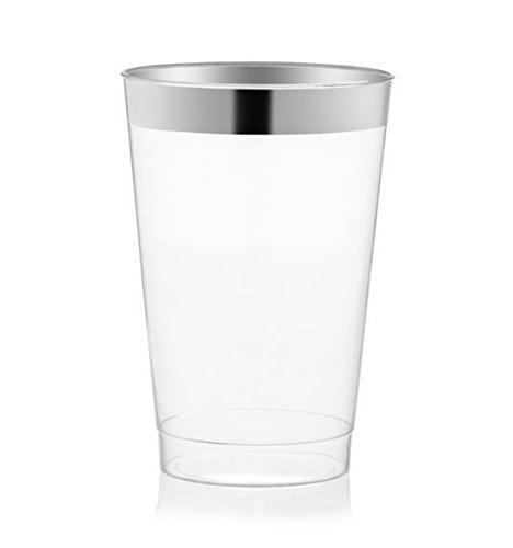 drinket silver plastic cups clear