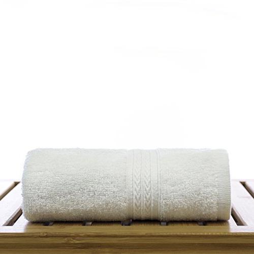 Eco Cotton Towels - White - Dobby Border - Set of 6