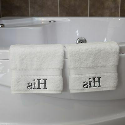 Authentic Hotel and Spa Embroidered 'His' Turkish Cotton Whi