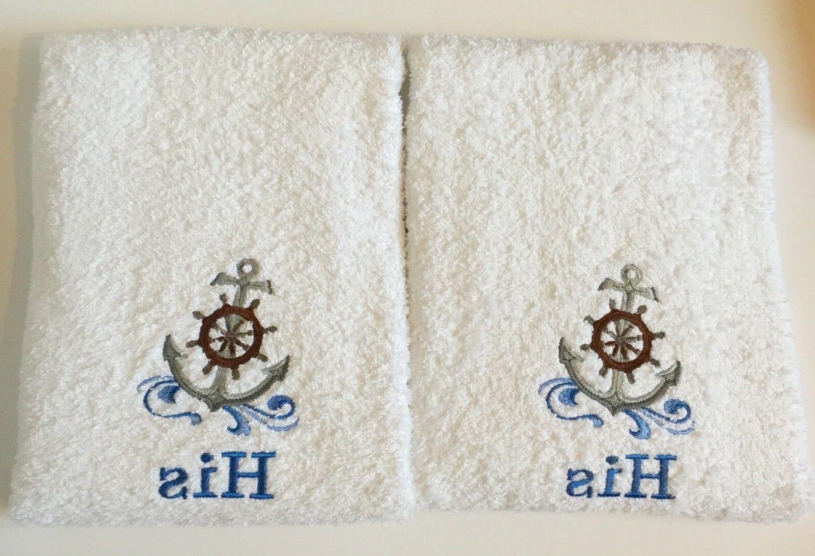 Embroidered Towels, His & His Anniversary/Wedding Hand
