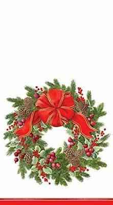 Entertaining with Caspari Evergreen Wreath White Paper, Gues