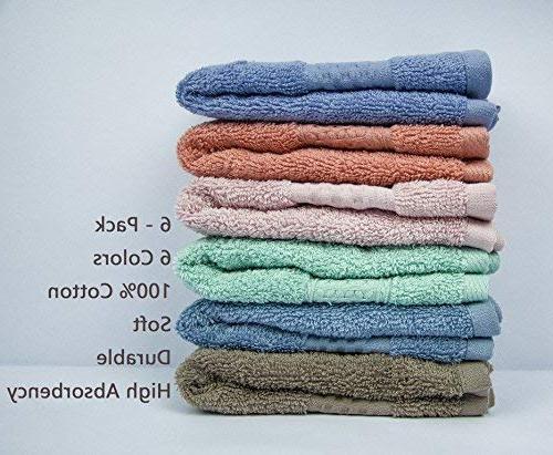 Cleanbear Washcloths Cotton, 6 Colors, Color