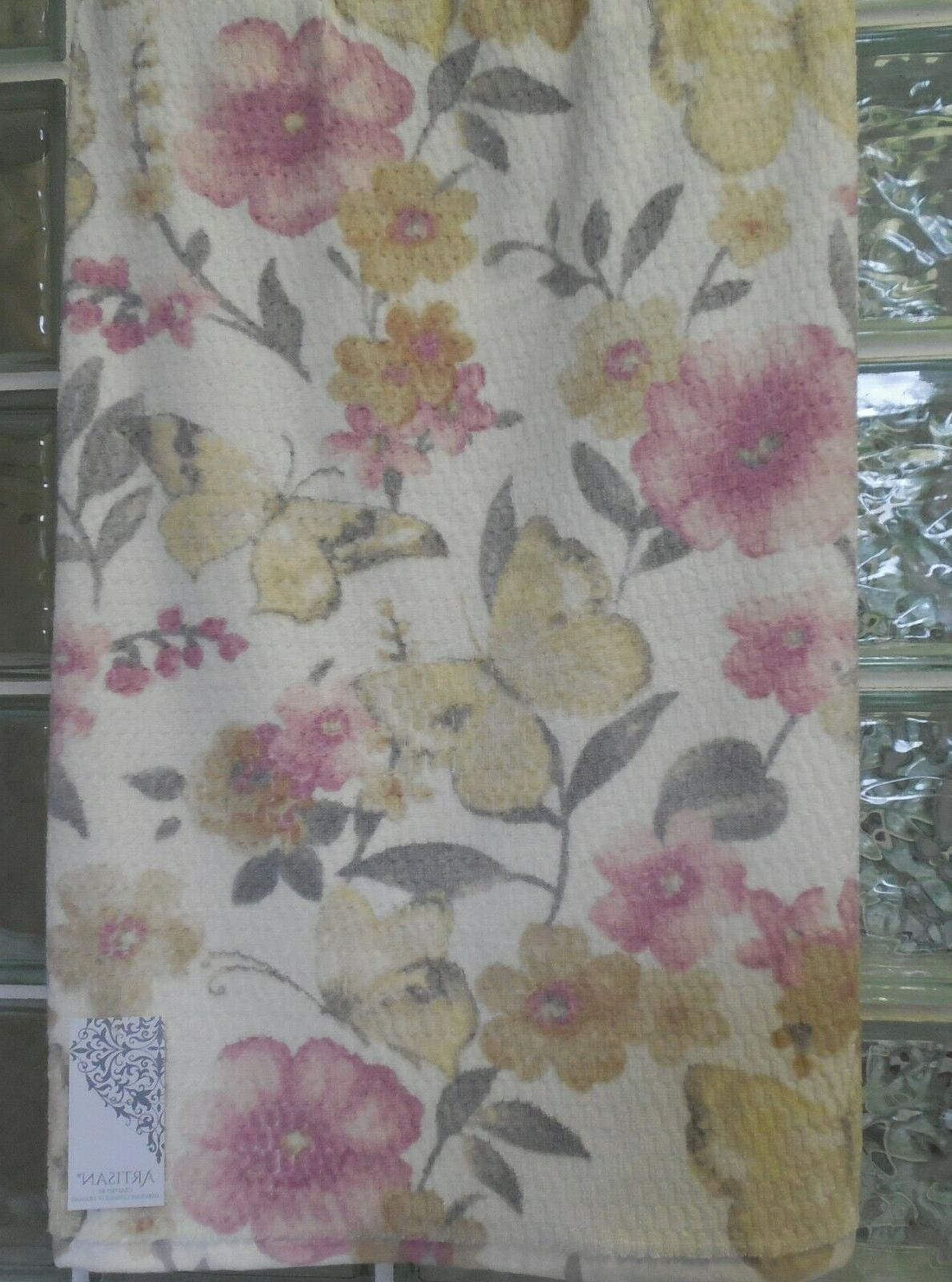 Artisan Butterfly Towels Yellow/Gray/Pink~Bath/Hand/Face