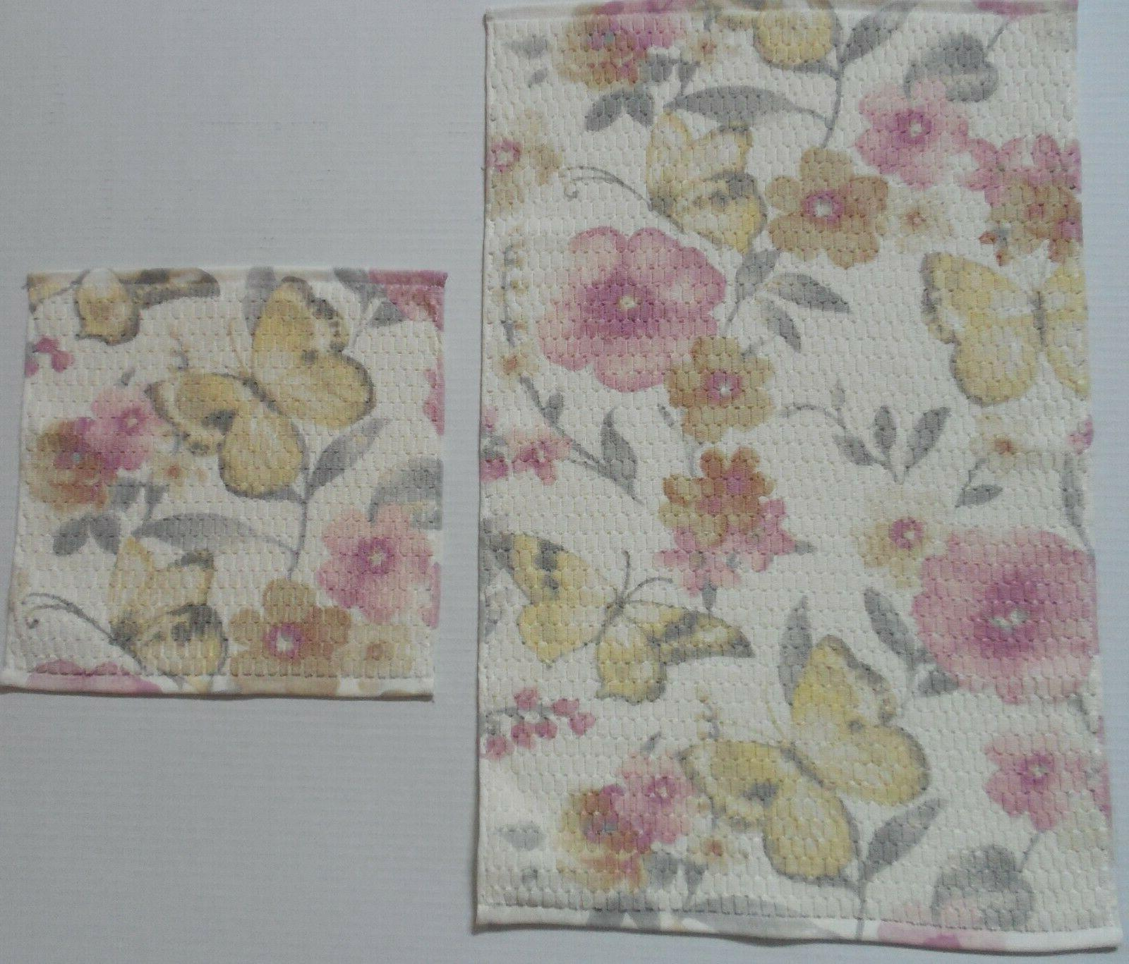 Artisan Floral Bath Towels Pc Yellow/Gray/Pink~Bath/Hand/Face