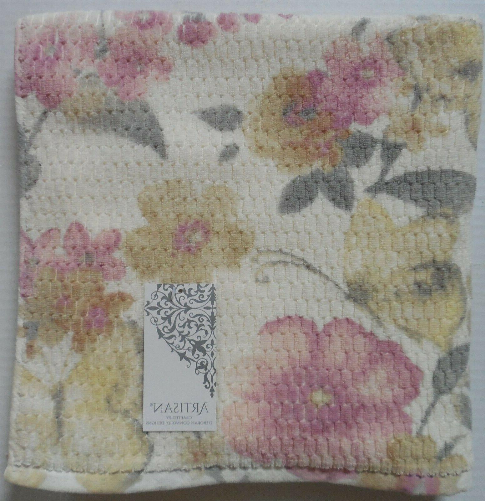 Artisan Floral Butterfly Towels Set Yellow/Gray/Pink~Bath/Hand/Face