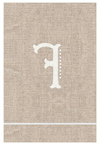 french knot f initial towel