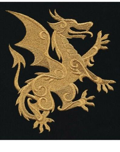 gilded dragon set 2 hand towels embroidered