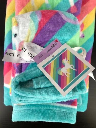 Girls Unicorn Towel Set Hand Towels Washcloths Rainbow NEW