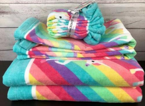 Girls Towel Set Washcloths Rainbow Unicorns