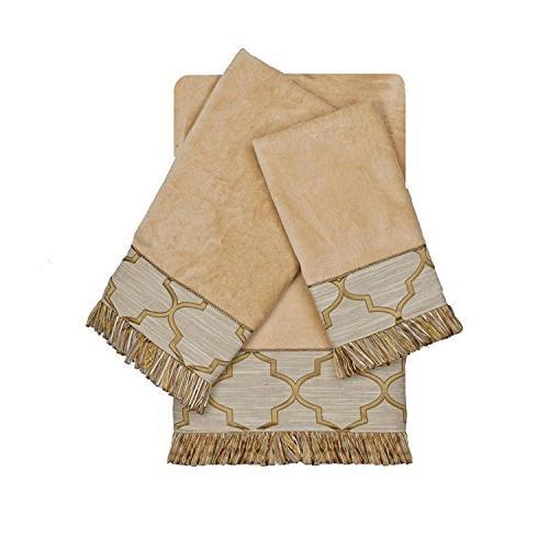 gold embellished geometric lattice towel