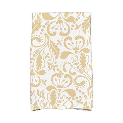 gold floral pattern hand towel