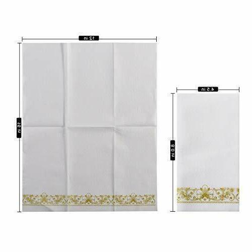Gold Napkins Guest Linen Paper Hand for Bathroom Decorative, Super