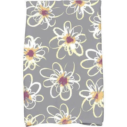 gray floral hand towel geometric