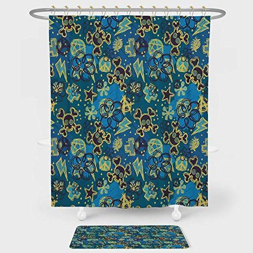 grunge shower curtain floor mat
