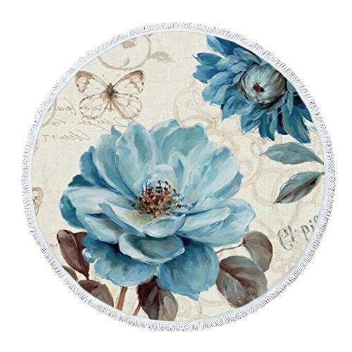 hand painted blue retro flowers