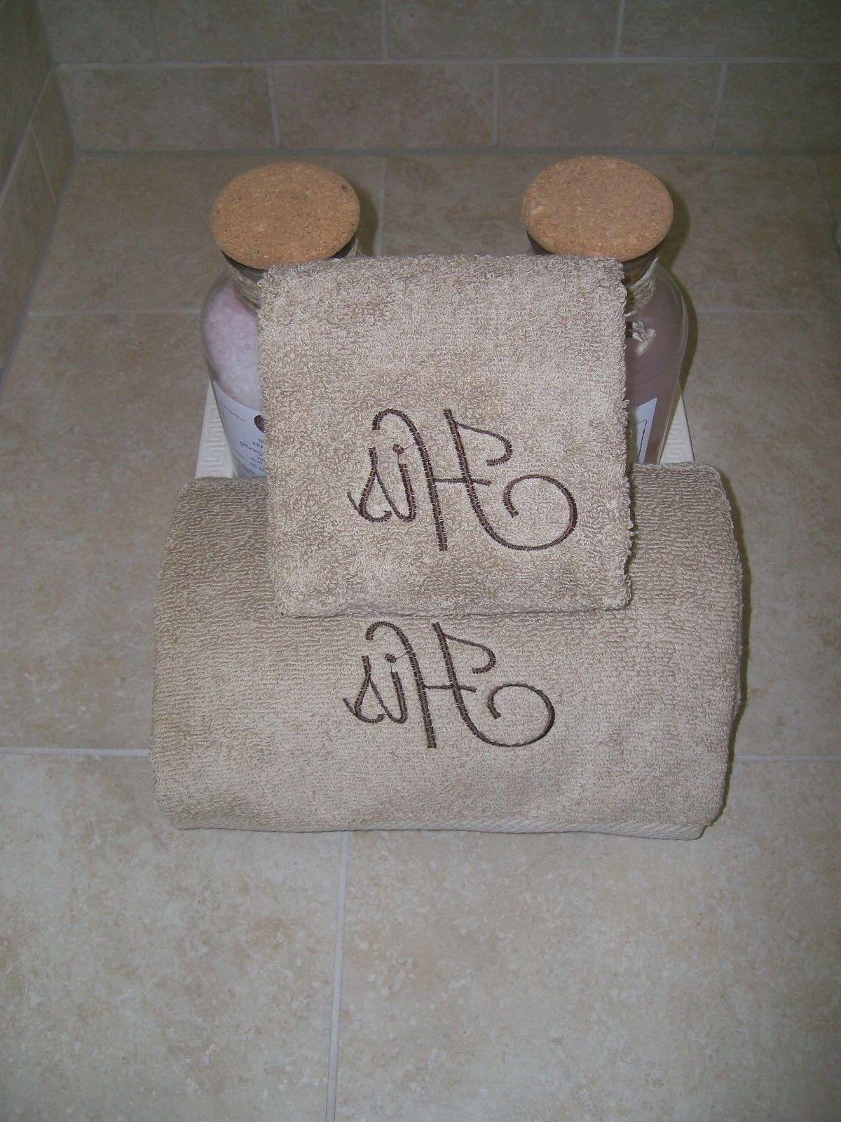His Embroidered 2 and Hand Towels- Wedding -