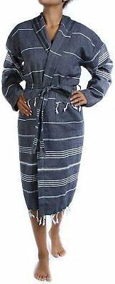 Cacala Bathrobe Fabric Kimono Unisex Black,