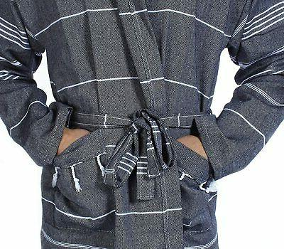 Cacala Bathrobe Pestemal Fabric 100% Turkish Cotton Kimono Black,