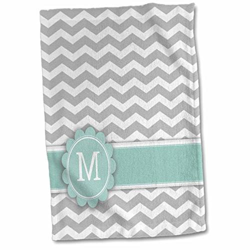3D Rose Grey and White Chevron with Yellow Monogram Initial C Hand Towel 15 x 22 Multicolor