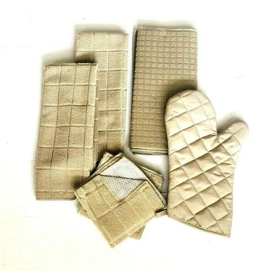 Kitchen 2 Dishcloths Drying Oven Mitt Solid Set of 6 NWT