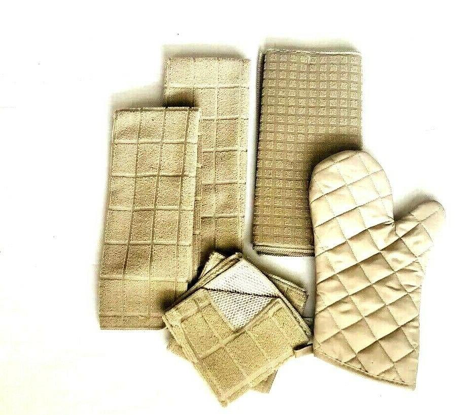 Kitchen 2 Hand 2 Dishcloths Drying Oven Mitt Solid Set of NWT