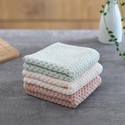 Coral Fleece Microfiber Dishcloth Towels Cleaning Cloth Clea