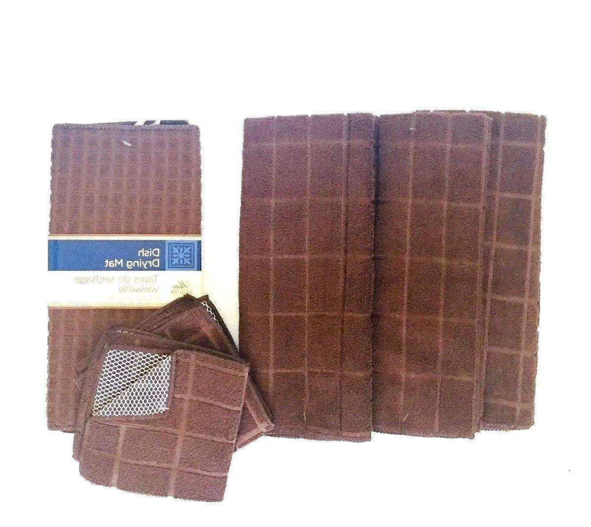 Kitchen Dish Towels 2 Mat Solid Brown of 6 New