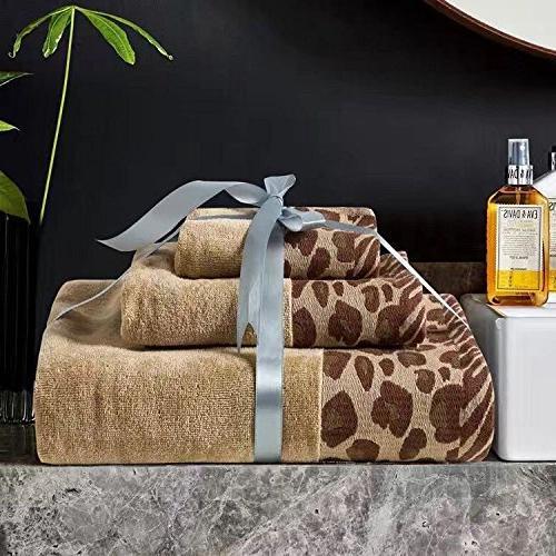 leopard print bath towels set
