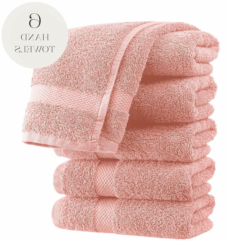 Luxury Hand Towels - Soft Circlet Egyptian | Set 6 Pink