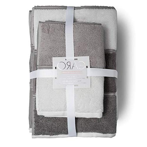 Caro Home Maya Grey 6 Set Towels 2 Face Towels 100% Quality Multi Pattern Color, Thick and Plush