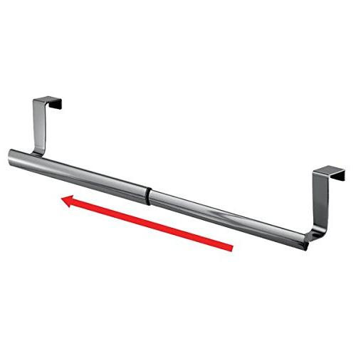 "mDesign Adjustable, Expandable Towel Bar - for Outside Doors, Storage Hand, and Tea Towels 9.25"" to 17"","