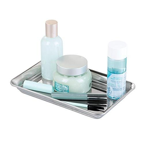 mDesign Tray for Bathroom Countertops, Closets, Towels, Jewelry, Reading Glasses of 2, Polished Steel