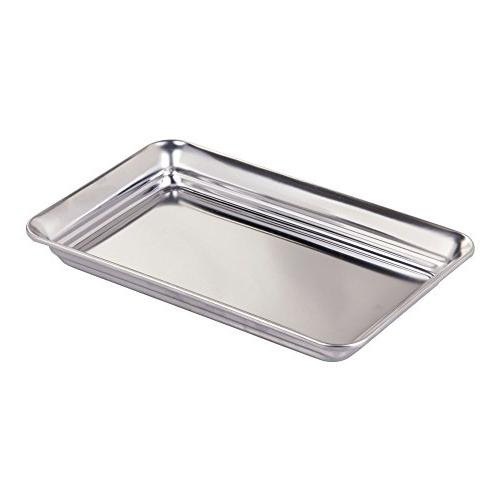 mDesign Metal Organizer Tray for Vanity Countertops, Dressers Holder Towels, Reading - Pack of Steel