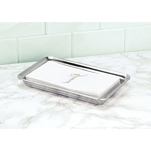 Tray for Vanity Countertops, Holder for Guest Towels, Jewelry, Makeup Reading Glasses Pack of 2, Polished Steel