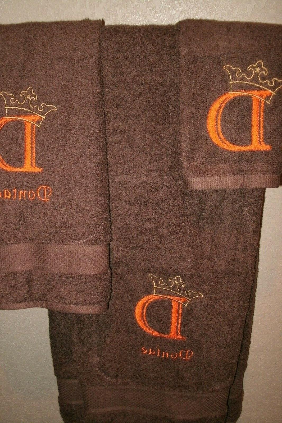 Monogram Crown Personalized 3 Bath Towel Set ANY