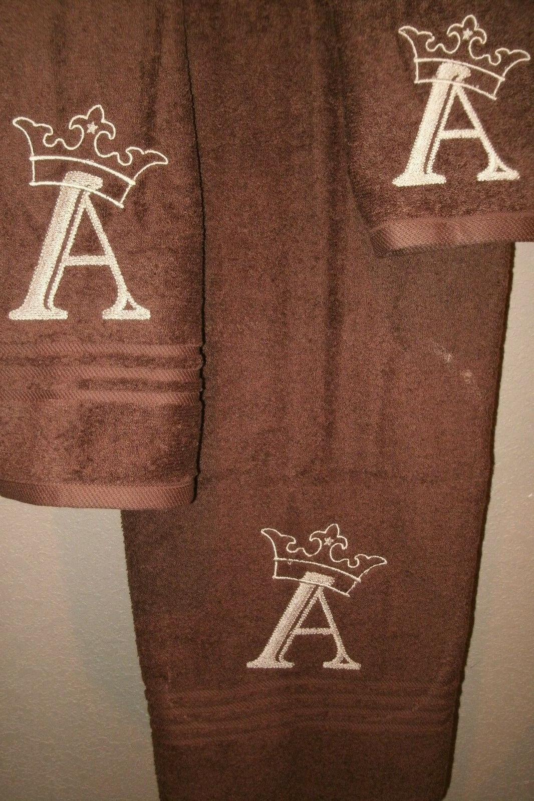 Monogram Crown Personalized 3 Bath Towel ANY