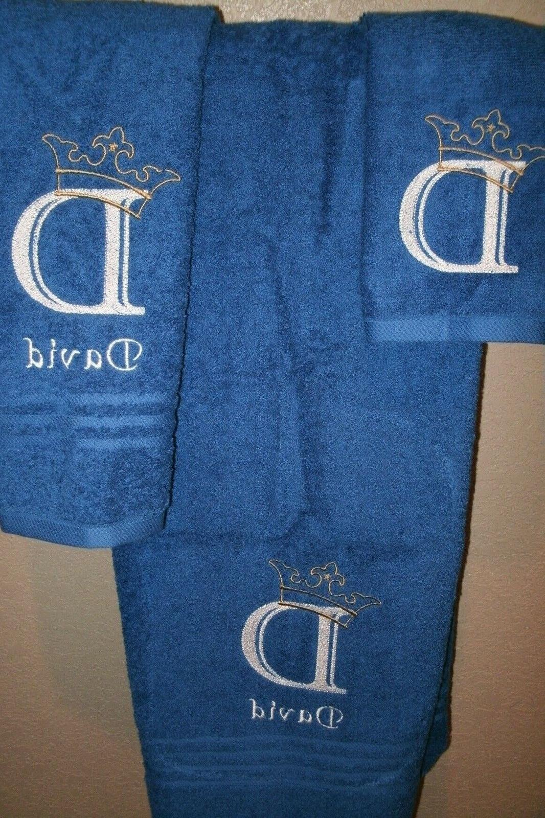 Monogram Crown Letter Personalized 3 Towel