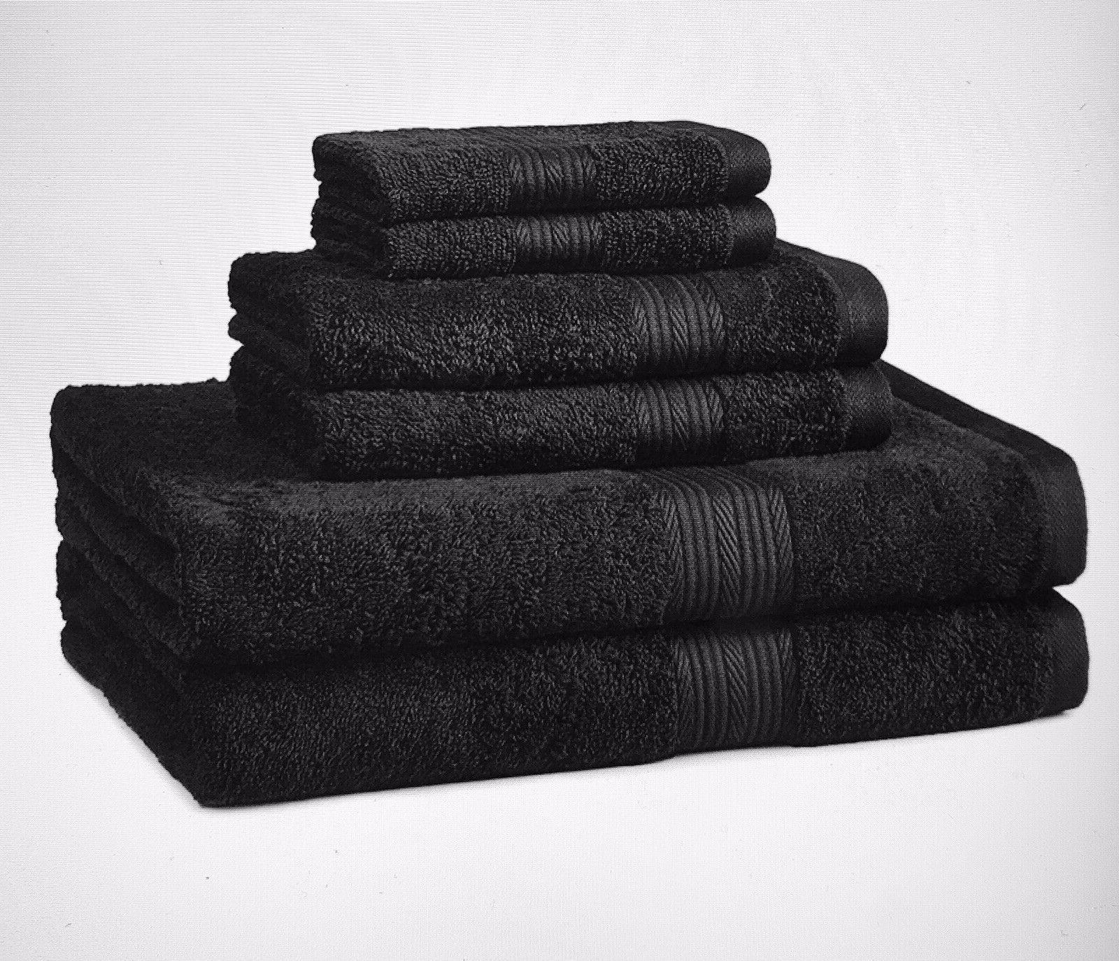 monogrammed 3 pcs towels set black fade