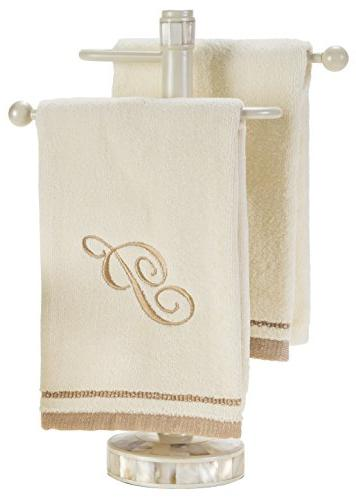 Monogrammed Gifts, Fingertip 11 x 18 - Decorative Golden Embroidered Towel Absorbent 100% for