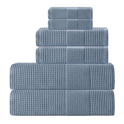 navy geometric solid waffle towel