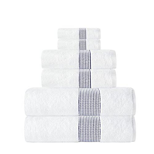 navy stripe textured towel set