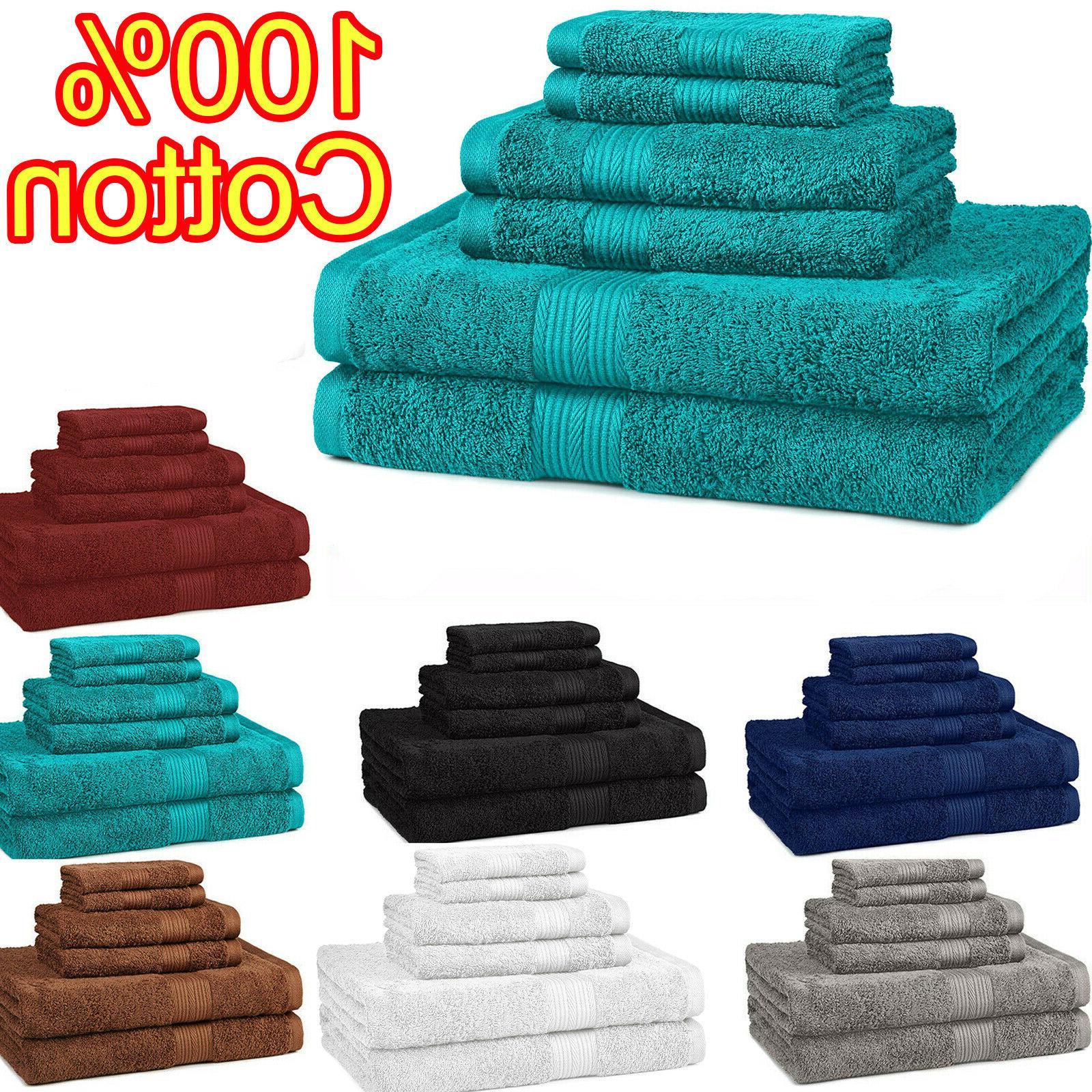 New Bath Towel 6 Piece Set 100% Cotton Bathroom Towels Washc