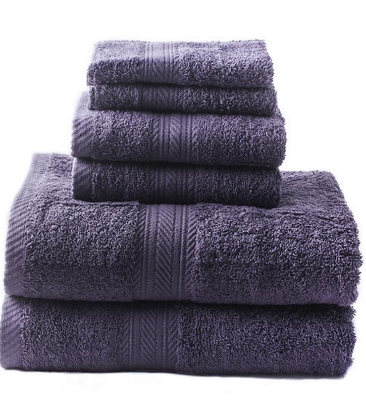 new purple 6 piece bath towel set