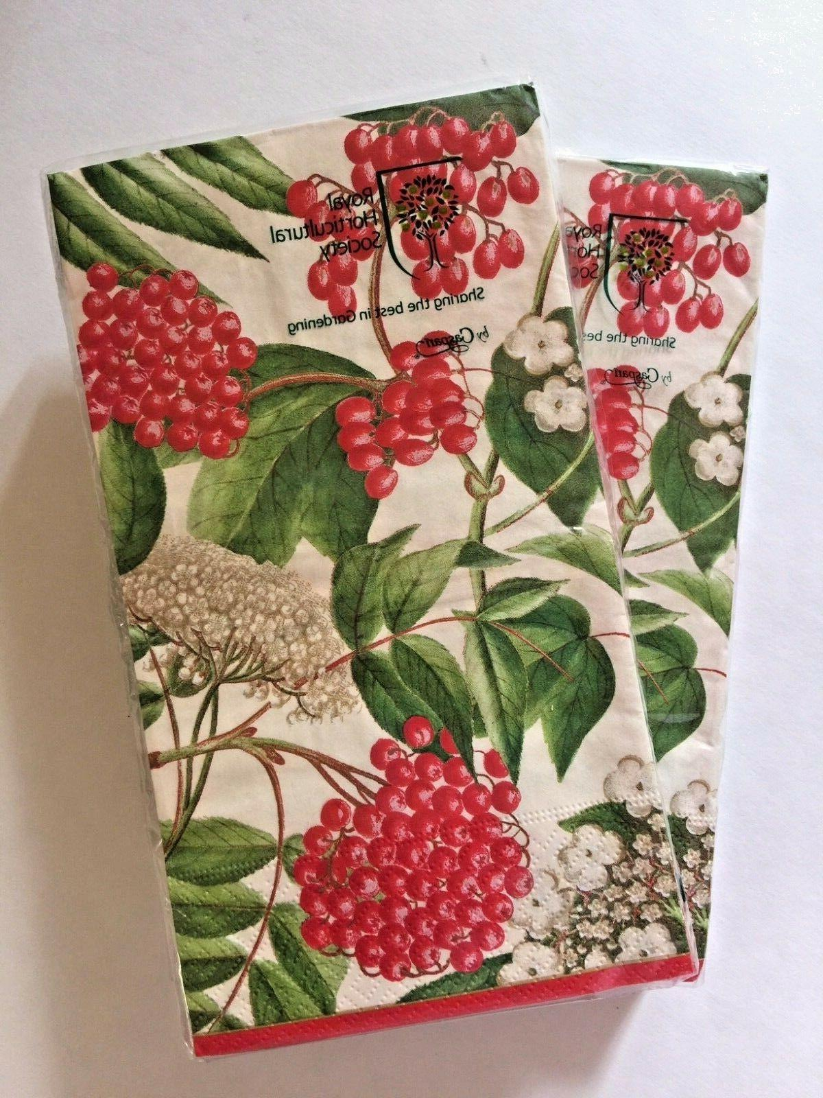 NEW! TWO CASPARI Ply HAND GUEST TOWELS Floral Holiday Bathroom Decor