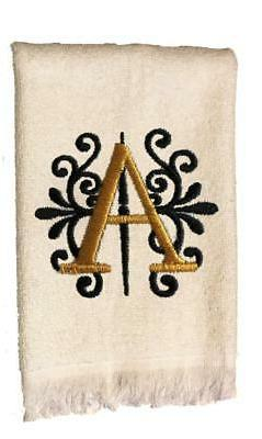 New White Monogrammed Hand Towel with Black and Gold Embroid