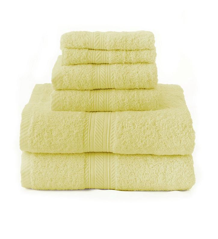 new yellow 6 piece bath towel set