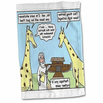 noah and the giraffes hand towel